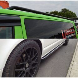 T5 Gloss Black 42mm Roof Bars & Sportline Sidebars SWB 1
