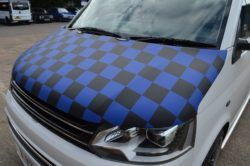Vw T5.1 Gp Facelift Blue & Black Cheq Bonnet Bra
