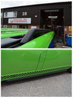 T5 Matt Black 42mm Roof Bars & Sportline Sidebars LWB 1