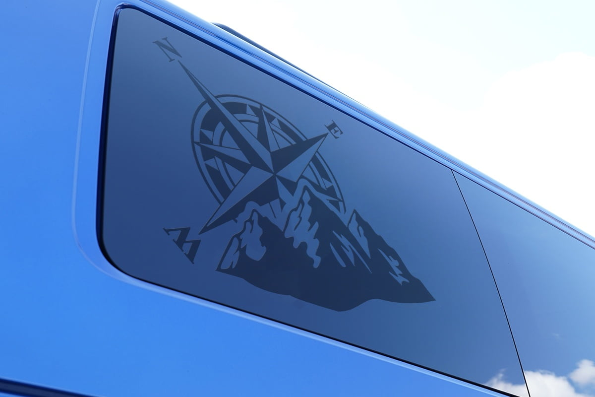 Compass & Mountains Decal
