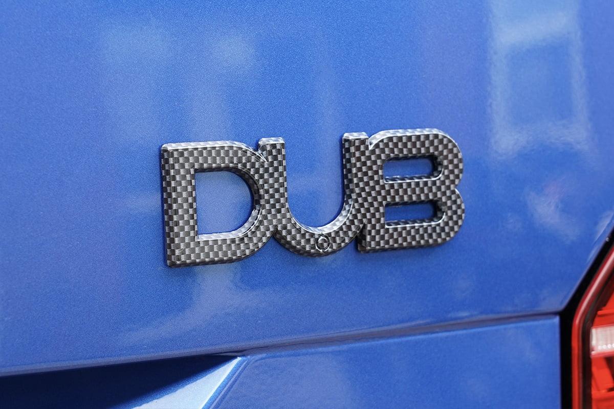 DUB Badge Carbon Fibre Closeup