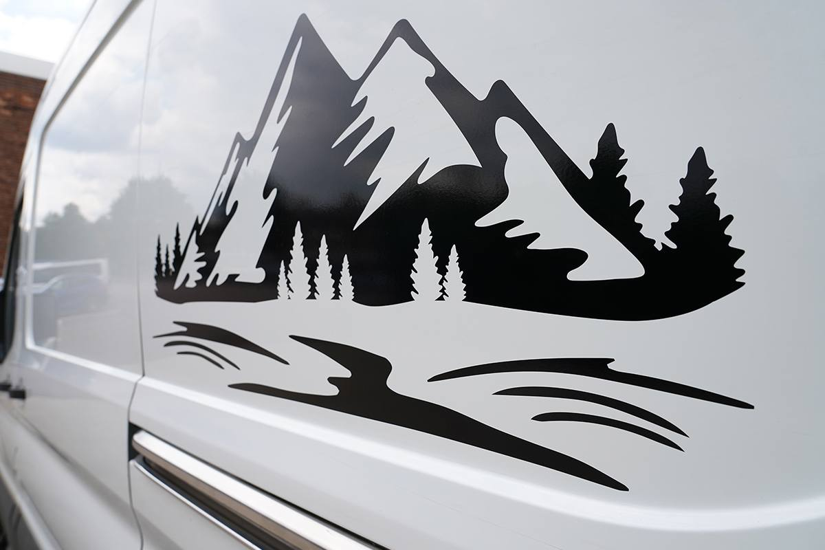 Mountain Range Decal From Rear