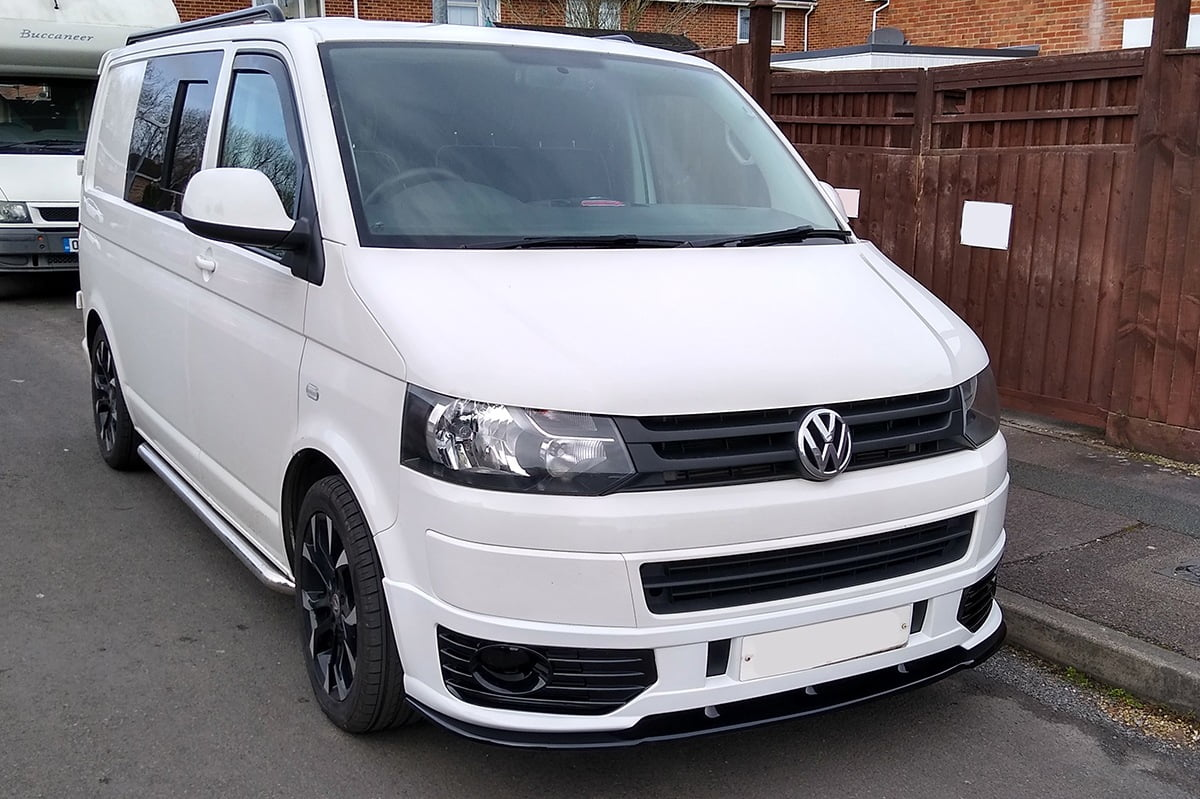T5.1-OEM-Front-Spoiler-Candy White on Van